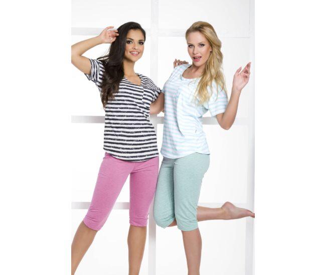 REBEKA Black-white-pink női pizsama