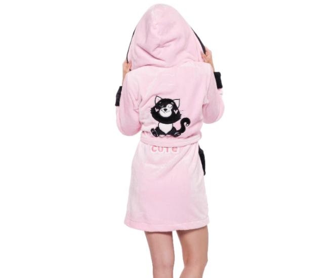 POPPY DK Cute Cica köntös - rózsa-fekete