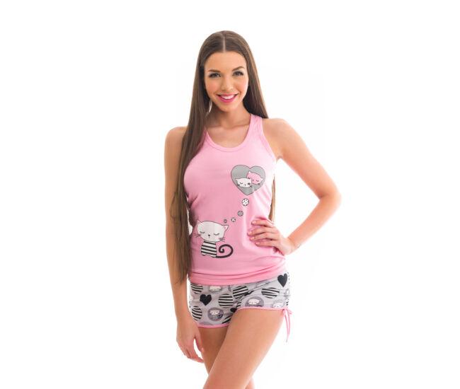 POPPY Freaky Cicás 1/2-es pizsama - közép pink-szürke