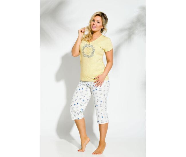 DONATA Yellow-grey 4XL-5XL női pizsama (2187-2)